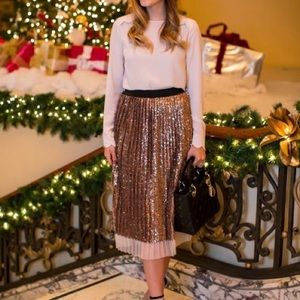 Topshop Rose Gold Sequin Pleated Midi Skirt
